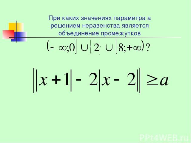 При каких значениях параметра а решением неравенства является объединение промежутков