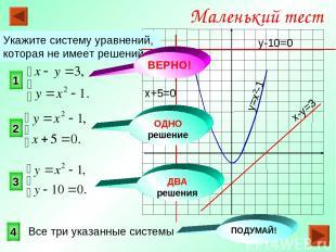 1 3 2 Маленький тест Укажите систему уравнений, которая не имеет решений. 4 ОДНО