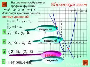 3 1 2 Маленький тест На рисунке изображены графики функций у=х2 – 2х–3 и у=1–х И