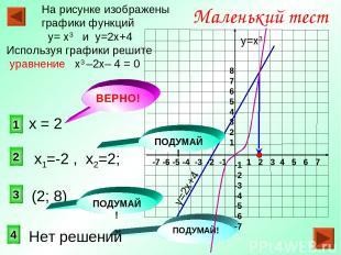 1 2 3 Маленький тест На рисунке изображены графики функций у= х3 и у=2х+4 Исполь