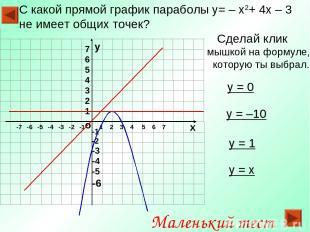 С какой прямой график параболы y= – x2+ 4x – 3 не имеет общих точек? Сделай клик