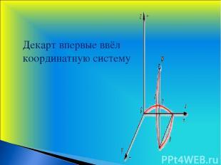 Декарт впервые ввёл координатную систему