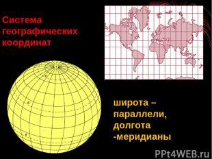 Система географических координат широта – параллели, долгота -меридианы