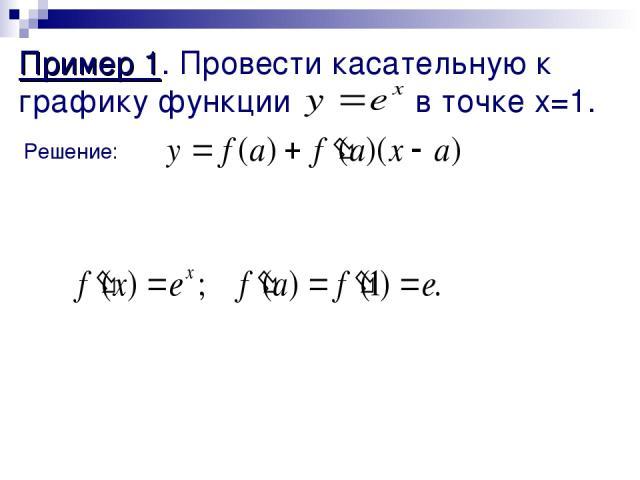 Пример 1. Провести касательную к графику функции в точке x=1. Решение: 1) a=1 2) f(a)=f(1)=e 3) 4) y=e+e(x-1); y = ex Ответ: y=ex