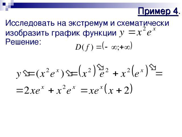 Пример 4. Исследовать на экстремум и схематически изобразить график функции Решение: 1) 2)