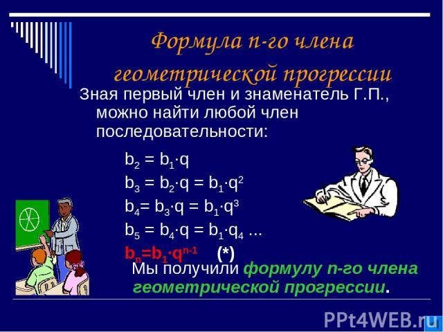 Формула n-го члена геометрической прогрессии Зная первый член и знаменатель Г.П., можно найти любой член последовательности: Мы получили формулу n-го члена геометрической прогрессии. b2 = b1∙q b3 = b2∙q = b1∙q2 b4= b3∙q = b1∙q3 b5 = b4∙q = b1∙q4 ...…