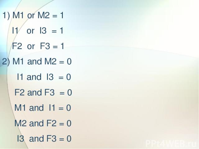 1) M1 or M2 = 1 I1 or I3 = 1 F2 or F3 = 1 2) M1 and M2 = 0 I1 and I3 = 0 F2 and F3 = 0 M1 and I1 = 0 M2 and F2 = 0 I3 and F3 = 0