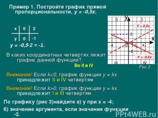 Пример 1. Постройте график прямой пропорциональности, у = -0,5х. х у 0 0 2 у = -