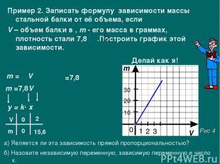 Пример 2. Записать формулу зависимости массы стальной балки от её объема, если V