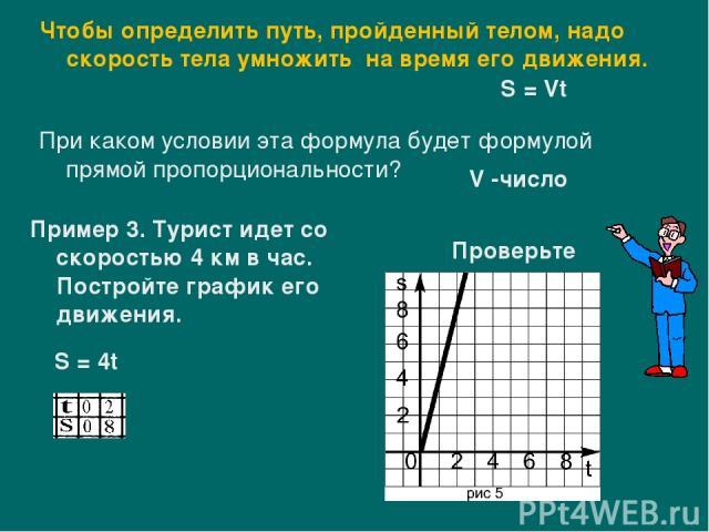 Пример 3. Турист идет со скоростью 4 км в час. Постройте график его движения. Чтобы определить путь, пройденный телом, надо скорость тела умножить на время его движения. S = Vt При каком условии эта формула будет формулой прямой пропорциональности? …