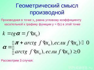 Геометрический смысл производной Производная в точке х0 равна угловому коэффицие