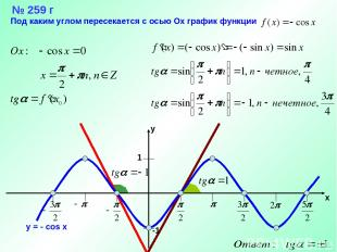 № 259 г Под каким углом пересекается с осью Ох график функции
