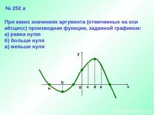 a b 0 c d e x y № 252 а При каких значениях аргумента (отмеченных на оси абсцисс