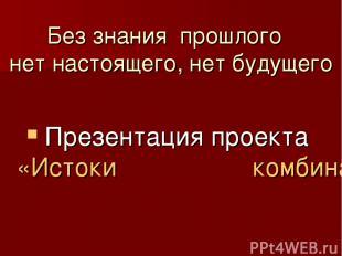 Без знания прошлого нет настоящего, нет будущего Презентация проекта «Истоки ком