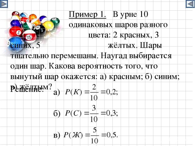 Пример 1. В урне 10 одинаковых шаров разного цвета: 2 красных, 3 синих, 5 жёлтых. Шары тщательно перемешаны. Наугад выбирается один шар. Какова вероятность того, что вынутый шар окажется: а) красным; б) синим; в) жёлтым? Решение: а) б) в)