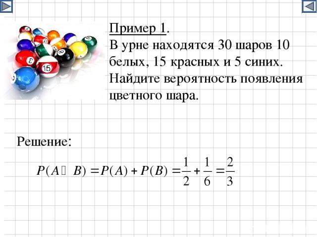 Пример 1. В урне находятся 30 шаров 10 белых, 15 красных и 5 синих. Найдите вероятность появления цветного шара. Решение: