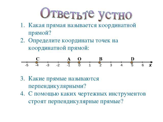 Какая прямая называется координатной прямой? Определите координаты точек на координатной прямой: Какие прямые называются перпендикулярными? С помощью каких чертежных инструментов строят перпендикулярные прямые?