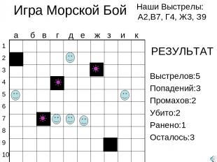 Игра Морской Бой Наши Выстрелы: А2,В7, Г4, Ж3, З9 1 2 3 4 5 6 7 8 9 10 а б в г д