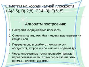 Отметим на координатной плоскости т.А(3;5), В(-2;8), С(-4;-3), Е(5;-5). Алгоритм