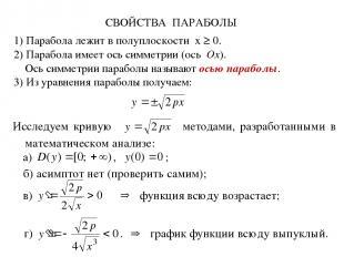 СВОЙСТВА ПАРАБОЛЫ 1) Парабола лежит в полуплоскости x ≥ 0. 2) Парабола имеет ось