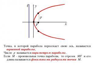 Точка, в которой парабола пересекает свою ось, называется вершиной параболы, Чис