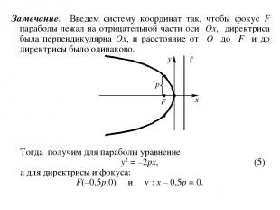 Замечание. Введем систему координат так, чтобы фокус F параболы лежал на отрицат