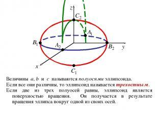 Величины a, b и c называются полуосями эллипсоида. Если все они различны, то элл