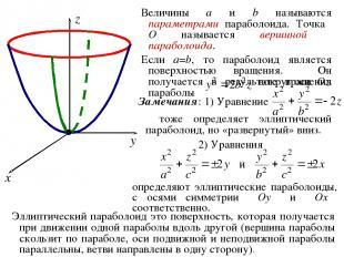 Величины a и b называются параметрами параболоида. Точка O называется вершиной п