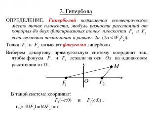 2. Гипербола ОПРЕДЕЛЕНИЕ. Гиперболой называется геометрическое место точек плоск