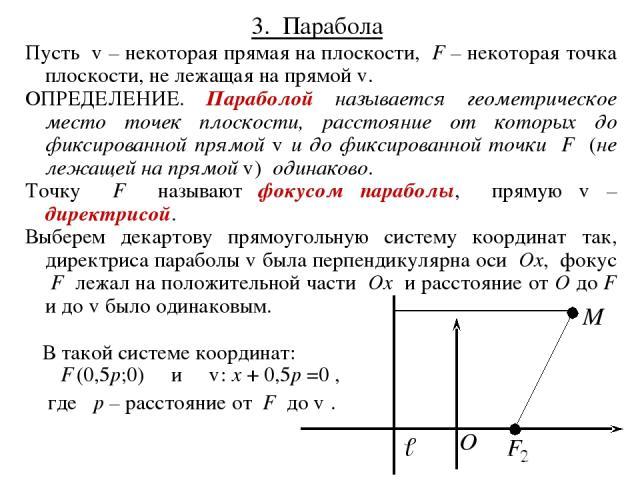 3. Парабола Пусть ℓ – некоторая прямая на плоскости, F – некоторая точка плоскости, не лежащая на прямой ℓ. ОПРЕДЕЛЕНИЕ. Параболой называется геометрическое место точек плоскости, расстояние от которых до фиксированной прямой ℓ и до фиксированной то…