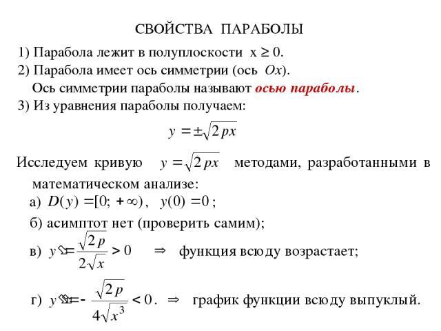 СВОЙСТВА ПАРАБОЛЫ 1) Парабола лежит в полуплоскости x ≥ 0. 2) Парабола имеет ось симметрии (ось Ox). Ось симметрии параболы называют осью параболы. 3) Из уравнения параболы получаем: