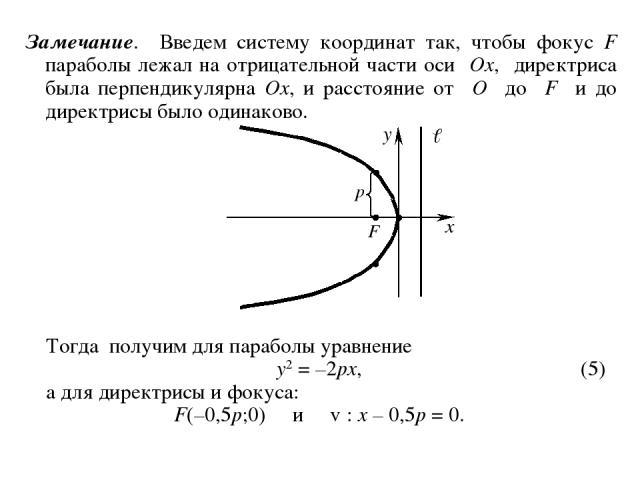 Замечание. Введем систему координат так, чтобы фокус F параболы лежал на отрицательной части оси Ox, директриса была перпендикулярна Ox, и расстояние от O до F и до директрисы было одинаково. Тогда получим для параболы уравнение y2 = –2px, (5) а для…