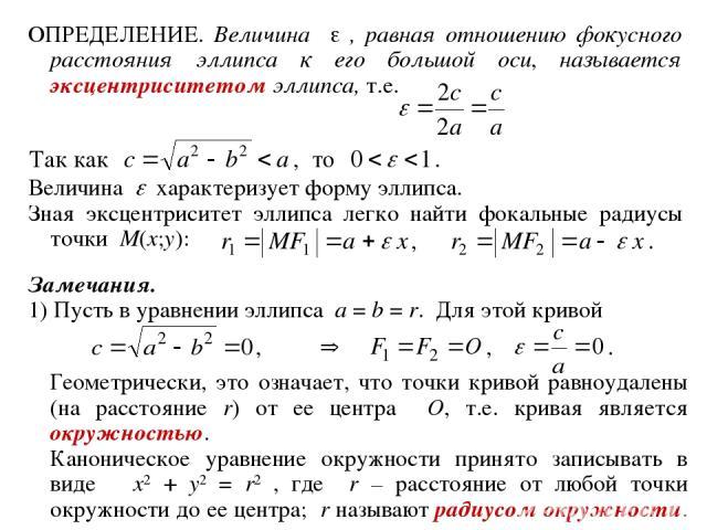 ОПРЕДЕЛЕНИЕ. Величина , равная отношению фокусного расстояния эллипса к его большой оси, называется эксцентриситетом эллипса, т.е. Величина характеризует форму эллипса. Зная эксцентриситет эллипса легко найти фокальные радиусы точки M(x;y): Замечани…