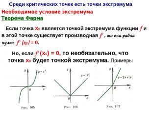 Теорема Ферма Если точка х0 является точкой экстремума функции f и в этой точке