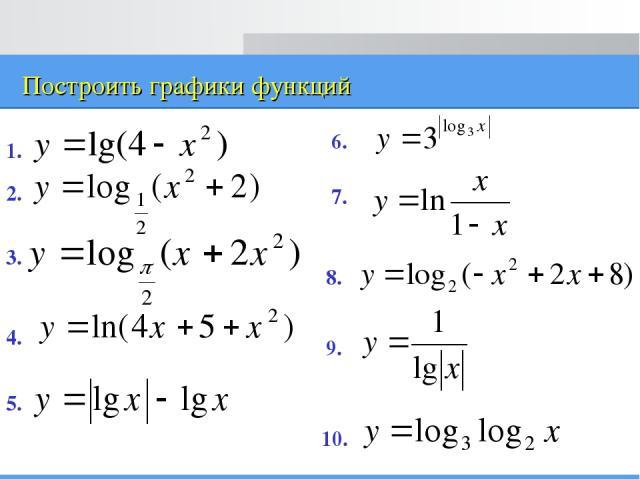 Построить графики функций 1. 2. 3. 4. 5. 6. 7. 8. 9. 10.
