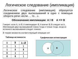 Логическое следование (импликация) Логическое следование (импликация) образуется