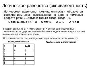 Логическое равенство (эквивалентность) Логическое равенство (эквивалентность) об