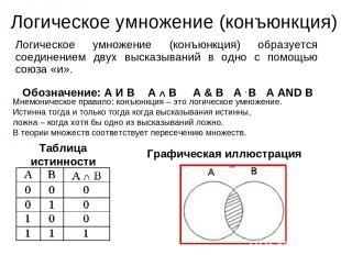 Логическое умножение (конъюнкция) Логическое умножение (конъюнкция) образуется с