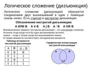 Логическое сложение (дизъюнкция) Логическое сложение (дизъюнкция) образуется сое