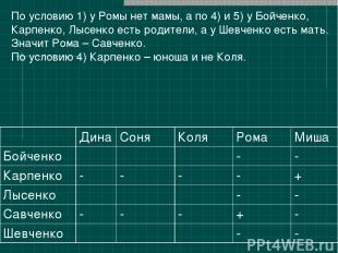 По условию 1) у Ромы нет мамы, а по 4) и 5) у Бойченко, Карпенко, Лысенко есть р
