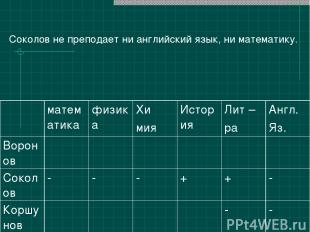Соколов не преподает ни английский язык, ни математику. математика физика Хи мия