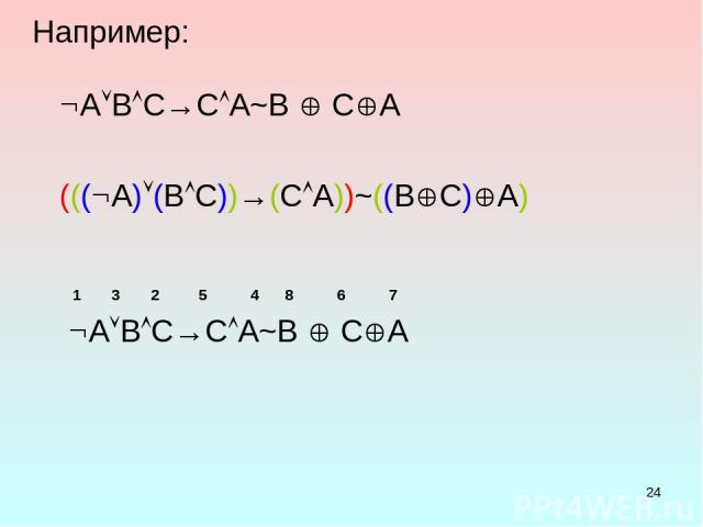 * Например: A B C→C A~B C A ((( A) (B C))→(C A))~((B C) A) 1 3 2 5 4 8 6 7 A B C→C A~B C A