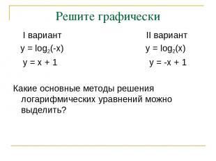 Решите графически I вариант II вариант y = log2(-x) y = log2(x) y = x + 1 y = -x