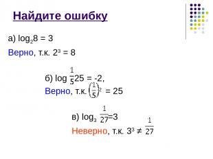 Найдите ошибку а) log28 = 3 Верно, т.к. 23 = 8 б) log 25 = -2, Верно, т.к. -2 =