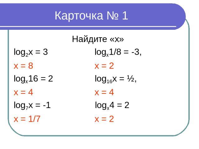 Карточка № 1 Найдите «х» log2x = 3 logx1/8 = -3, x = 8 х = 2 logx16 = 2 log16x = ½, x = 4 x = 4 log7x = -1 logx4 = 2 x = 1/7 x = 2