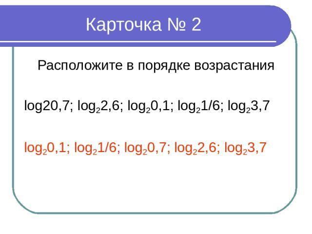 Карточка № 2 Расположите в порядке возрастания log20,7; log22,6; log20,1; log21/6; log23,7 log20,1; log21/6; log20,7; log22,6; log23,7