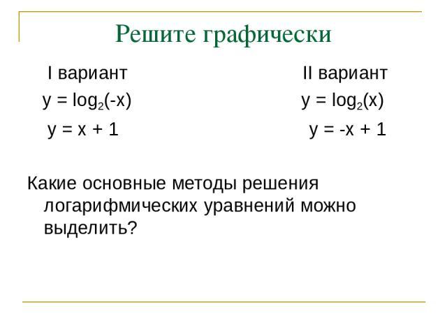Решите графически I вариант II вариант y = log2(-x) y = log2(x) y = x + 1 y = -x + 1 Какие основные методы решения логарифмических уравнений можно выделить?
