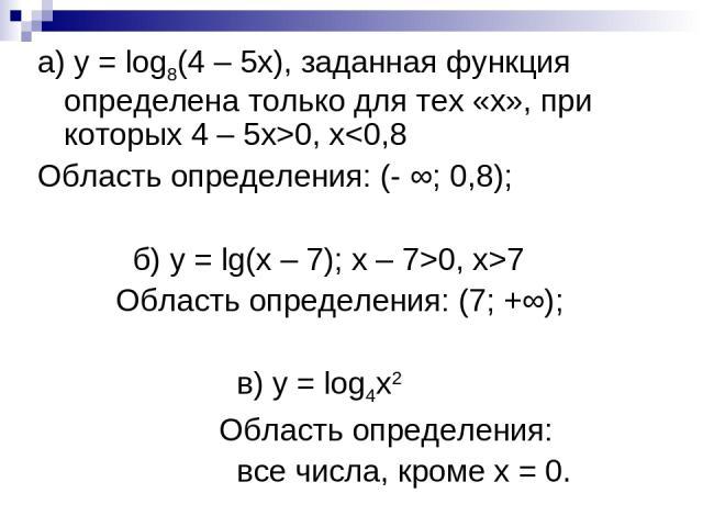 а) у = log8(4 – 5х), заданная функция определена только для тех «х», при которых 4 – 5х>0, x0, x>7 Область определения: (7; +∞); в) у = log4х2 Область определения: все числа, кроме х = 0.