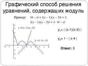 Графический способ решения уравнений, содержащих модуль  4 – x  +  (x – 1)(x – 3
