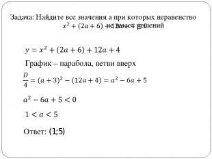 Задача: Найдите все значения а при которых неравенство не имеет решений Ответ: (